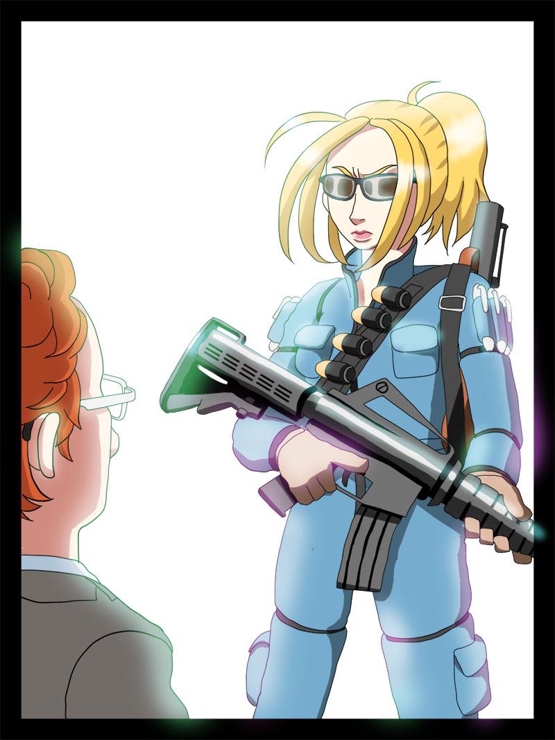 ウィル教授。アサルトライフルを持っている。方にはグレネードランチャーとグレネードを下げている。ターミネーターのサングラスをしている