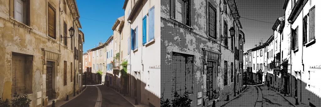左が加工前の写真、右が加工後の画像