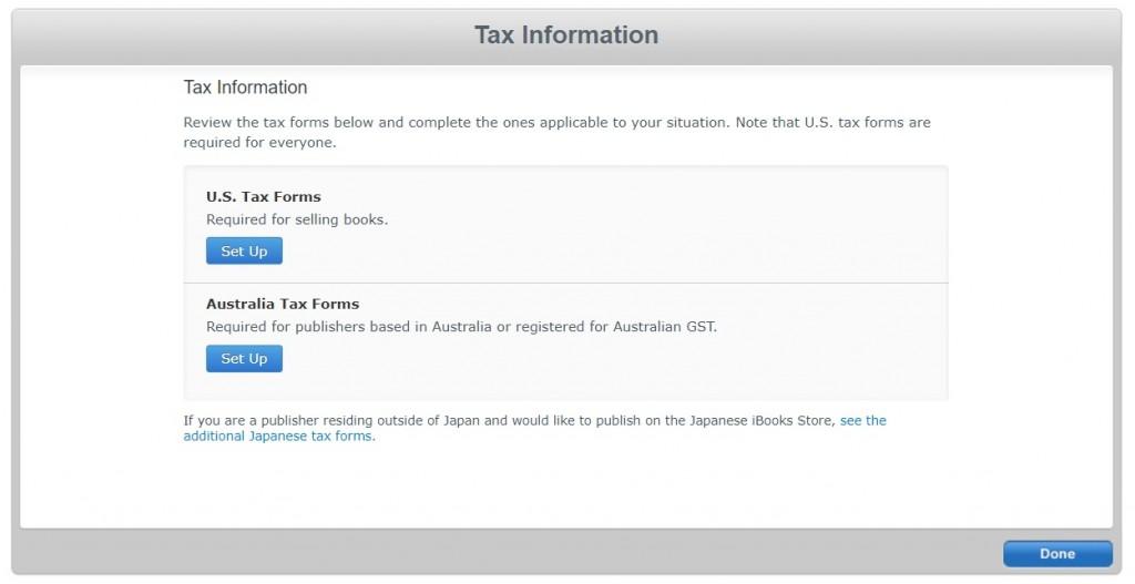 iTunes Connect 税金情報入力1